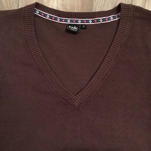 2/$20 TWIK Simons v-neck long sleeve brown sweater
